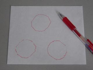 描画された円